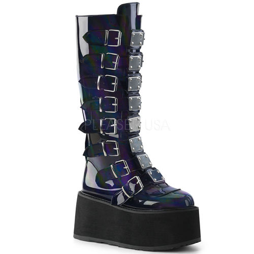 ladies boots black holographic damned boots XGZHMMU