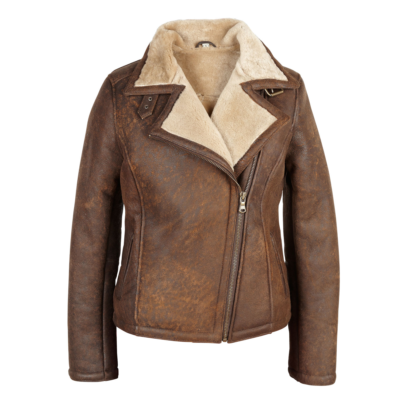 ladies jackets amy: ladies sheepskin flying jacket wild rust SMNGHKH