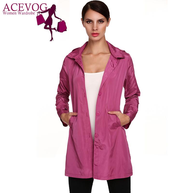 ladies raincoats acevog brand fashion size 3xl stylish ladies women packable long sleeve  solid casual hoodie PWSKKMK