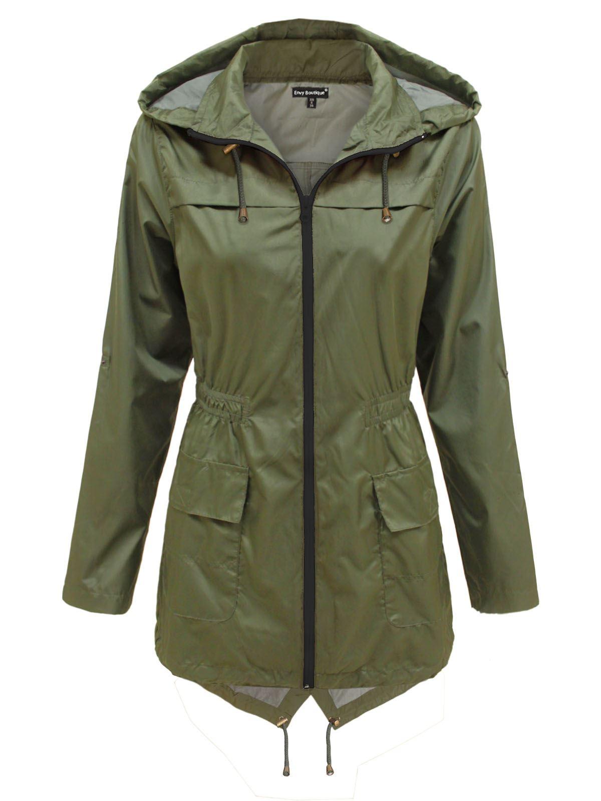 ladies raincoats new-ladies-womens-plain-parka-mac-hooded-waterproof- XGYWVBX