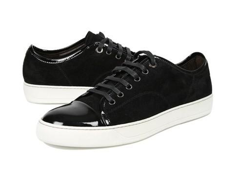 lanvin sneakers black suede lanvin men low-top sneakers shiny black patent cap toe shoes  hot sale BSIRFMJ
