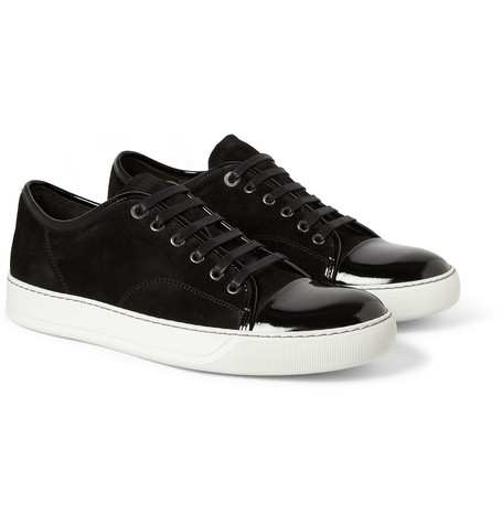 lanvin sneakers lanvin - suede and patent-leather sneakers QBRULNR