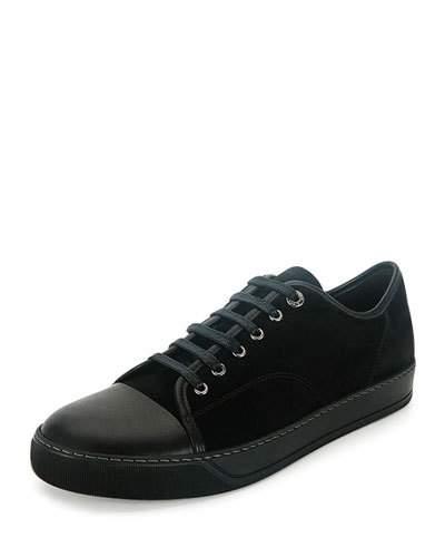 lanvin sneakers menu0027s cap-toe leather low-top sneaker, black WGTLUUA