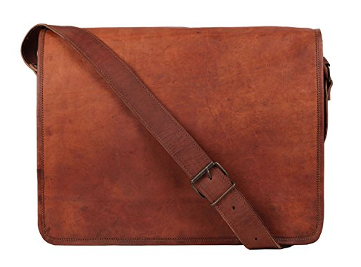leather bags for men 15 inch leather vintage rustic crossbody messenger courier satchel bag gift  men women ~ RVFHJHW