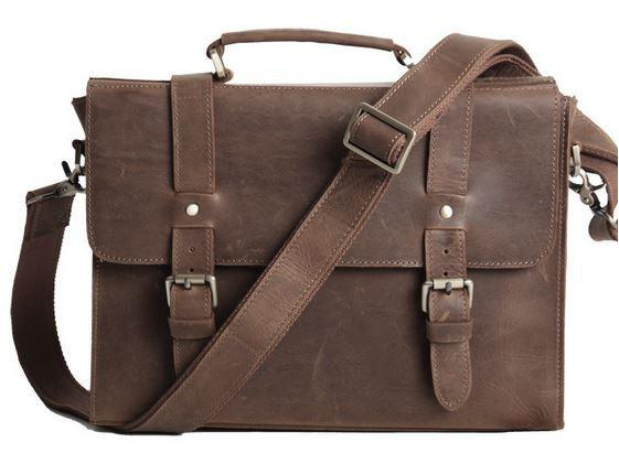 leather bags for men vintage slim notebook portfolio leather bag - dark brown - serbags - 2 LIJVZRA