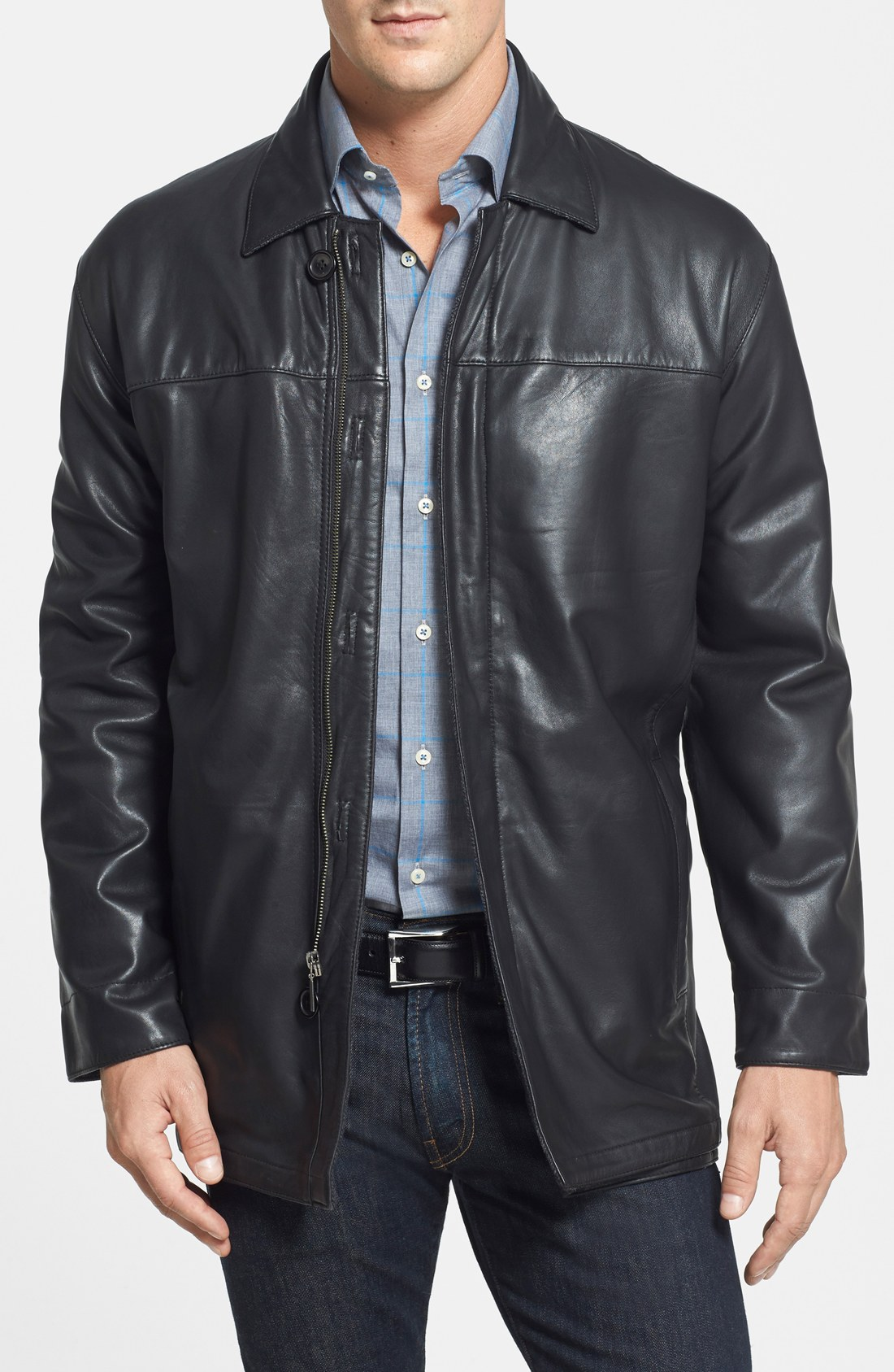 leather coats missani le collezioni classic fit reversible leather u0026 lambswool car coat |  nordstrom TLYZNXN
