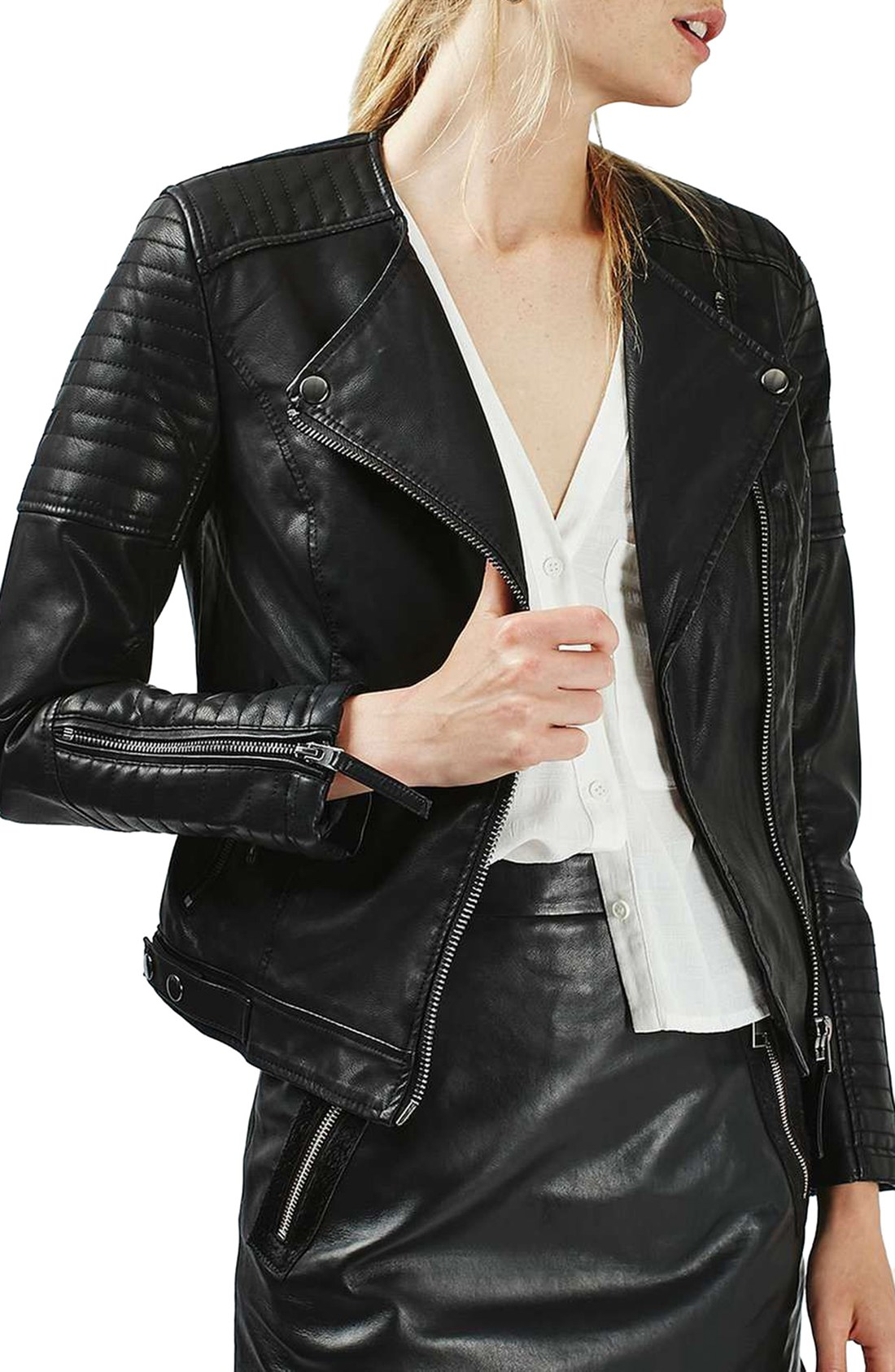 leather coats topshop nelly faux leather biker jacket | nordstrom PPPDXDC