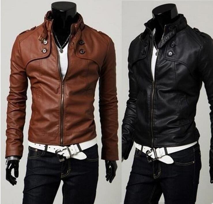 leather jackets for men 2015 fashion new korean slim stand-up collar sport  jackets mens MPTOFKU