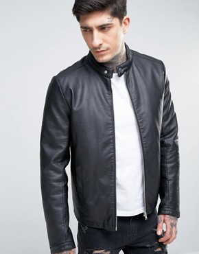 leather jackets for men asos faux leather racing jacket in black XALRWTC