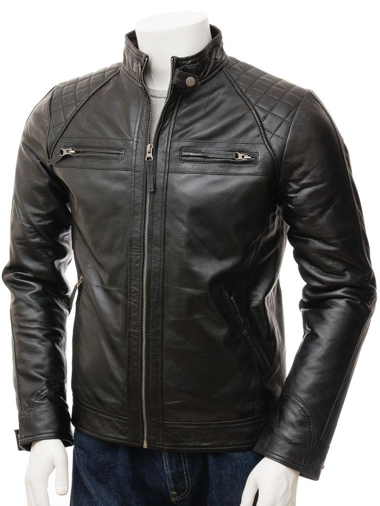 leather jackets for men menu0027s black biker leather jacket: sibiu front WBAHFQR