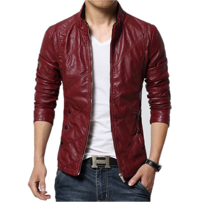 leather jackets for men red faux leather jacket men OAZBCAG