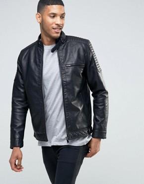 leather jackets for men river island biker jacket with racer neckline in faux leather black OGSMWEJ