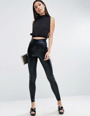 leather leggings asos high waisted wet look leggings AXKPBFM