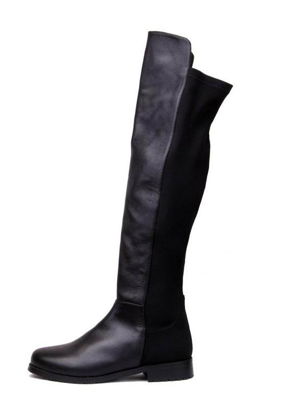 leather lycra flat knee high boots black -shein(sheinside) KQETKGP
