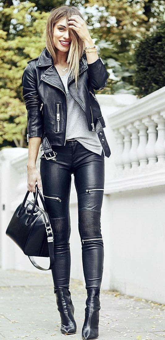 leather pants #fall #outfits · leather jacket u0026 pants u0026 tote + ... XCAMPSL