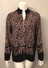 leopard cardigan stunning zenergy by chicou0027s brown leopard print zip up cardigan sweater  size 3 ROQODBQ