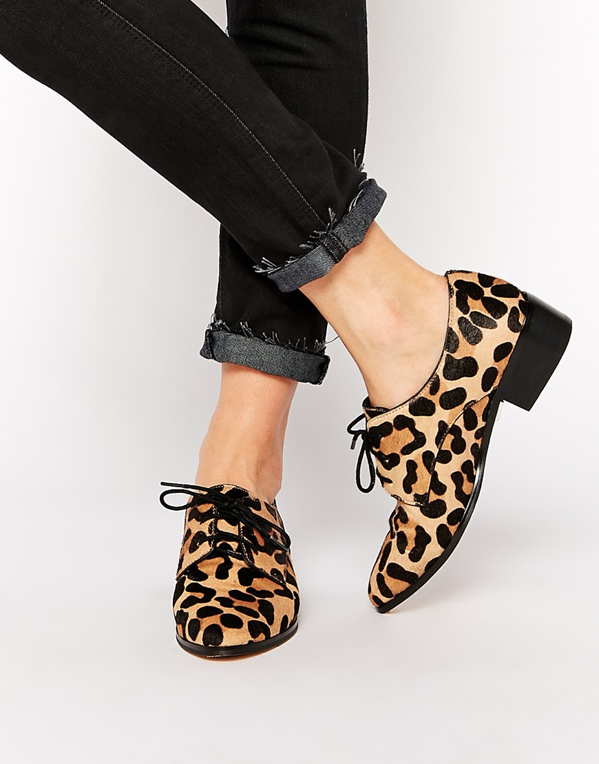 leopard print shoes dune loris animal print pony effect brogue flat shoes NTDGDEM