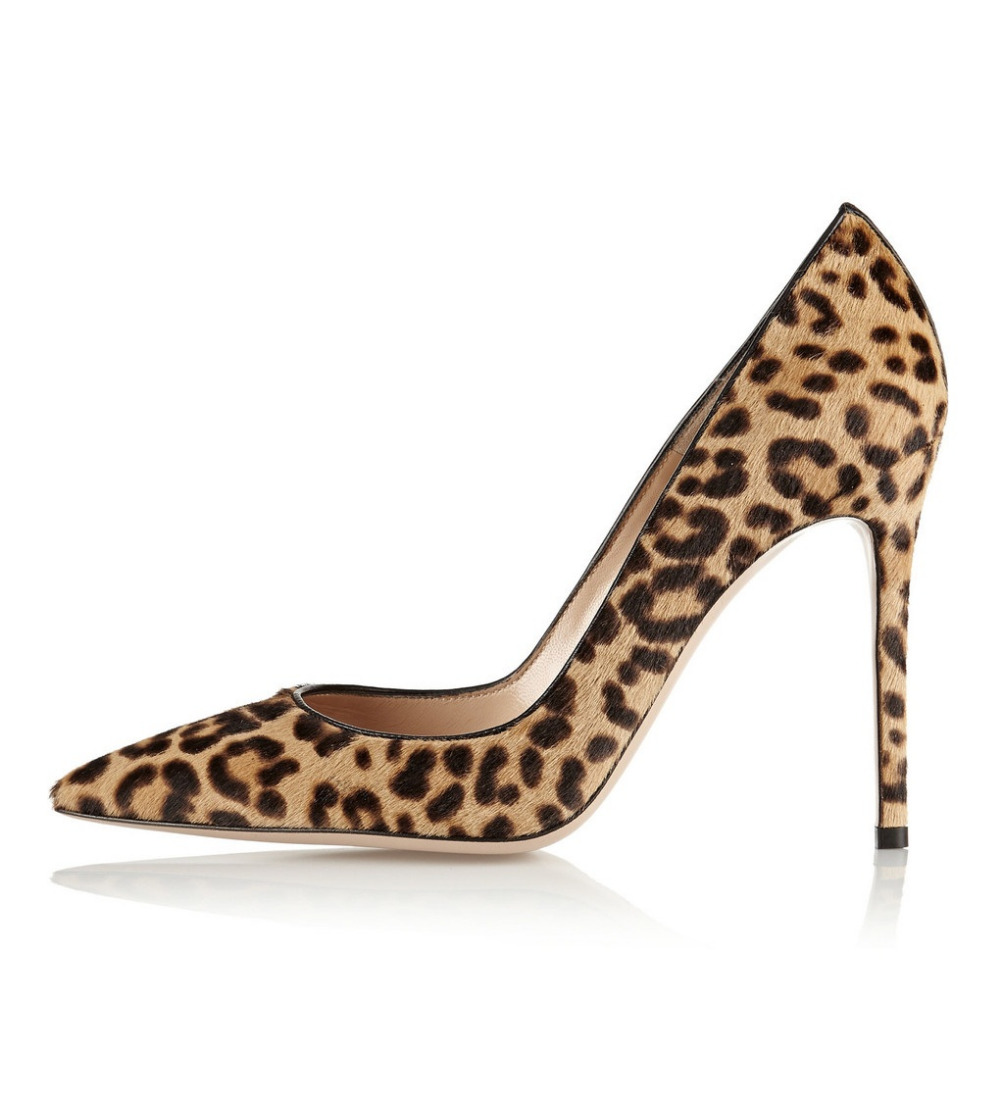 leopard print shoes womenu0027s pointed toe animal print horsehair pumps leopard print high heel  dress pump genuine BPSJKUL