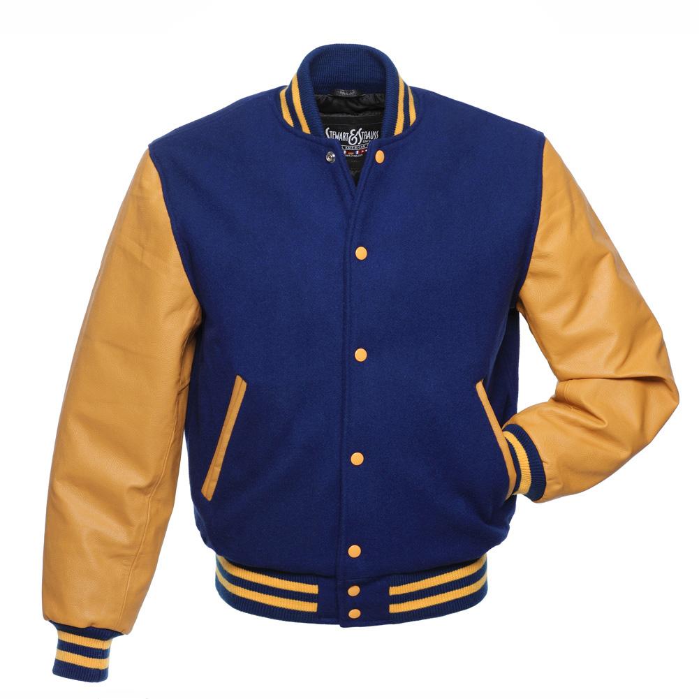 letterman jackets royal-blue-wool-gold-leather-letterman-jacket LKEWAJK