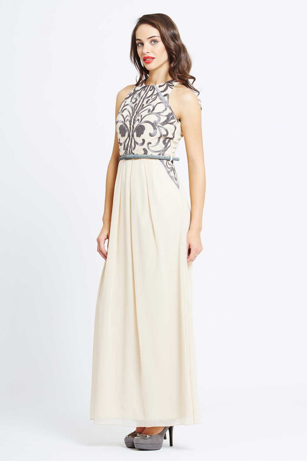 little mistress cream heavily embellished maxi dress ... DXRRURH