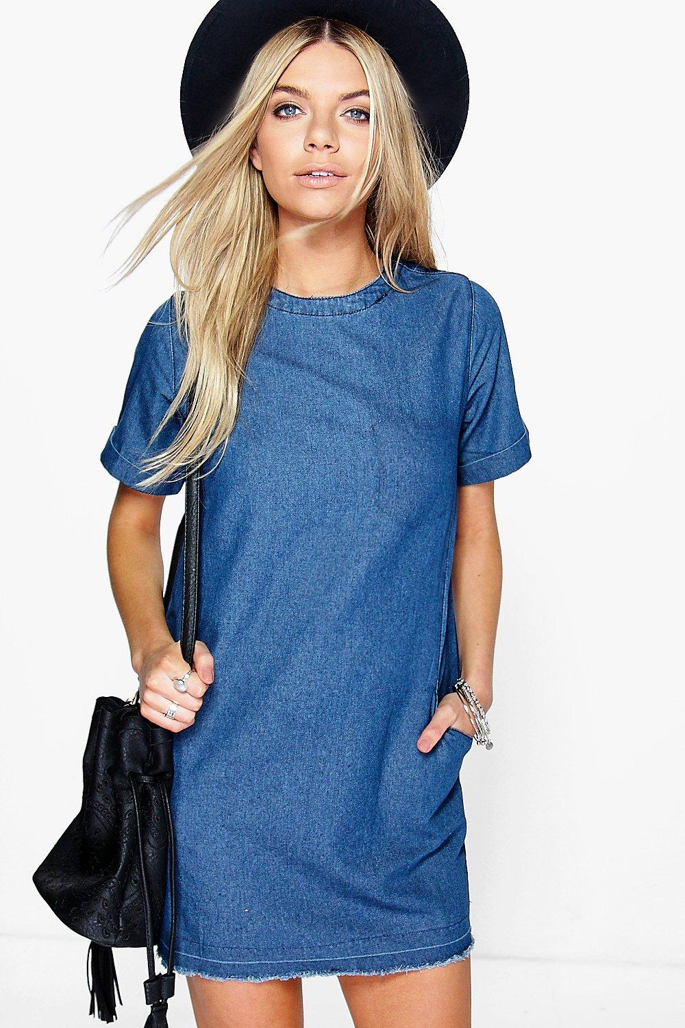 lois slouch pocket denim dress. hover to zoom ISTXUMJ