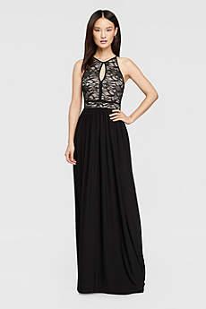 long black dress long a-line halter prom dress - morgan and co WUMOUUJ