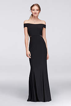 long black dress long sheath off the shoulder cocktail and party dress - xscape BQWXADW