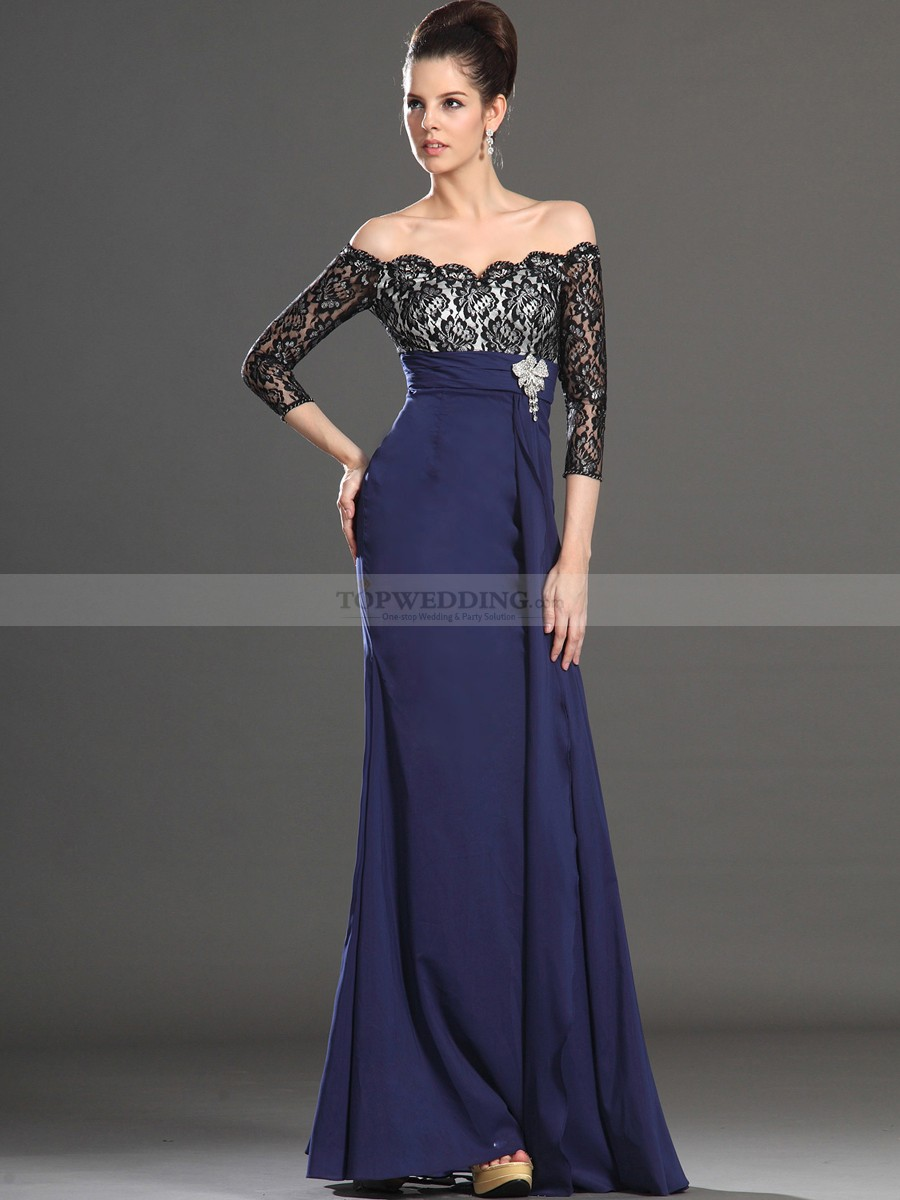 long evening dresses evening gowns with sleeves | three quarter sleeve off the shoulder lace  bodice long RZQMAKQ