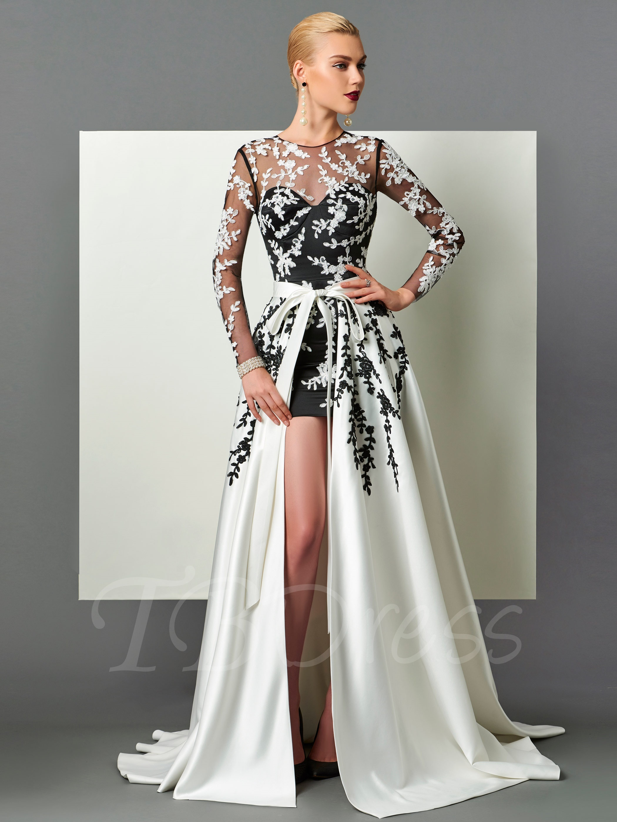 long evening dresses sheath scoop long sleeves appliques sashes court train evening dress u0026  informal evening dresses DBIAQIJ