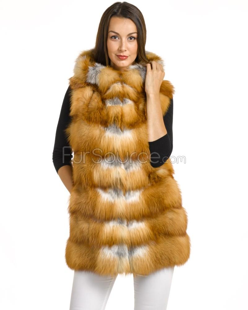 long red fox fur vest RXJWASX