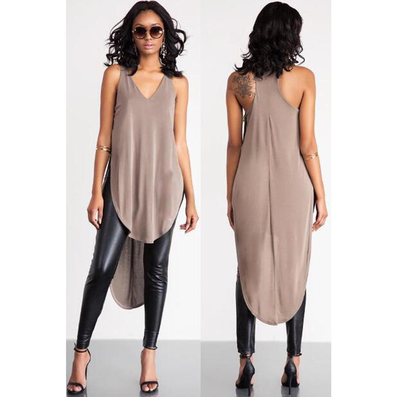 long shirts for women new long shirt women summer sexy v-neck wear khaki dress irregular tops  front short AYVDJBD