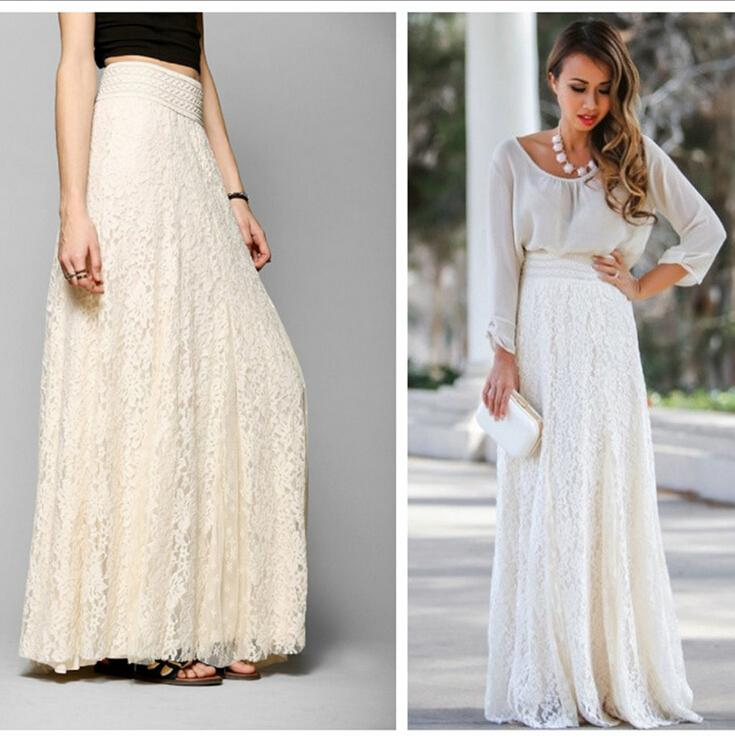 long skirts for women cheap empire women maxi skirt best woolen+lace embroidery floral chiffon maxi  skirt VYRCTLG