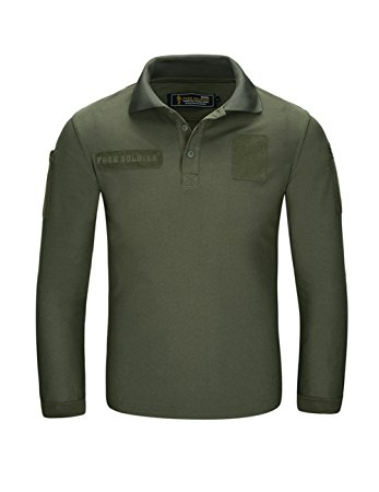 long sleeve polo shirts free soldier men shirts long sleeve polo shirt with pocket 100% coolmax  fabrics breathable XVMKQGM