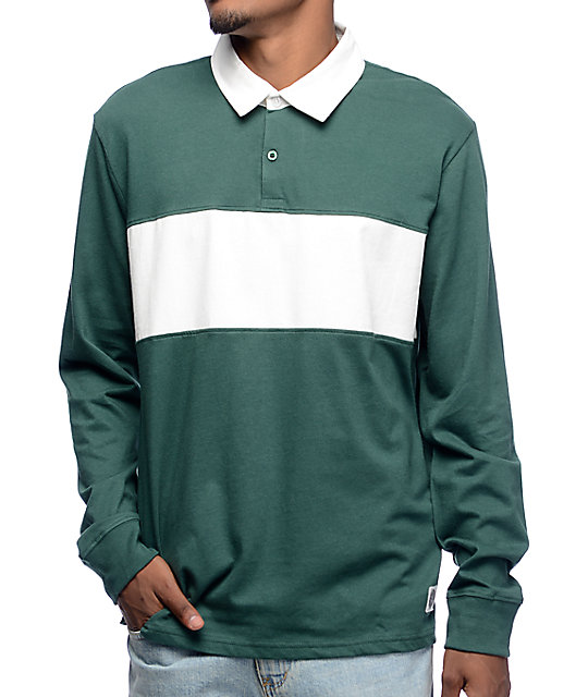 long sleeve polo shirts obey governors green u0026 white long sleeve polo shirt VBXAZNT