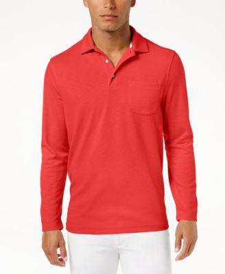 long sleeve polo shirts tasso elba menu0027s upf 30+ performance long-sleeve polo, only at macyu0027s EIBBRIU
