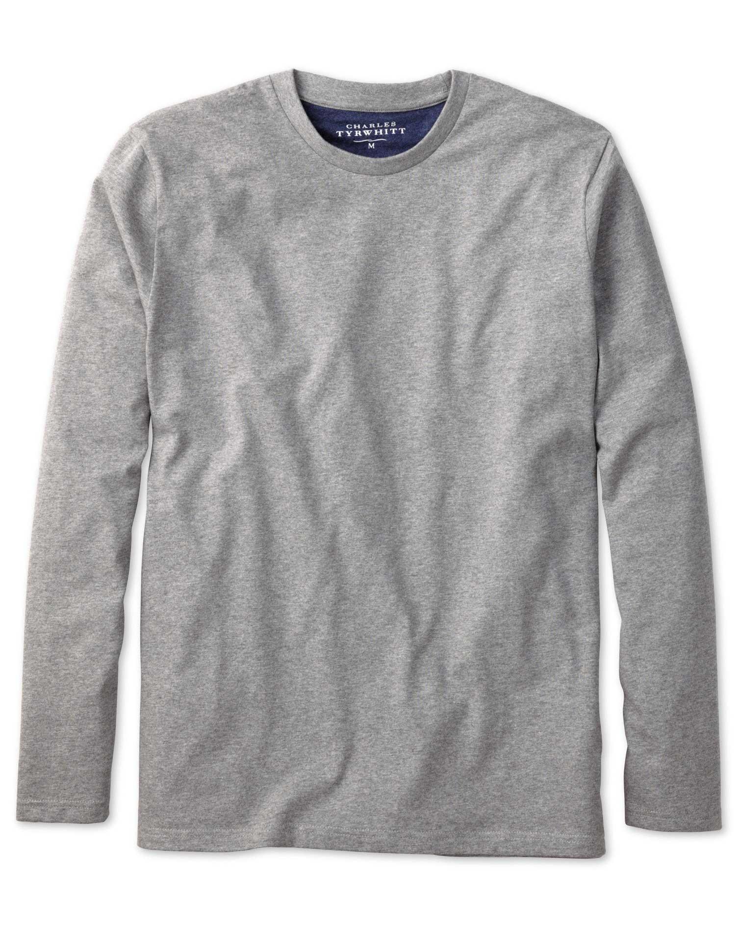 long sleeve t shirts grey cotton long sleeve t-shirt ZGSBBKN