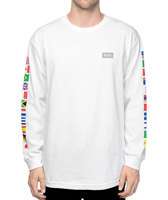 long sleeve t shirts huf flags white long sleeve t-shirt KRPFNFB