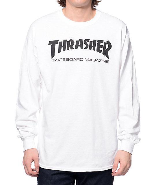 long sleeve t shirts thrasher skate mag long sleeve white t-shirt QFVGSNT