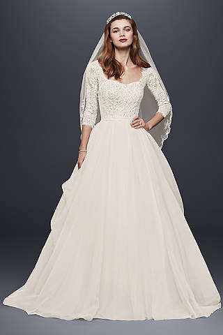 long sleeved wedding dresses long ballgown romantic wedding dress - oleg cassini · oleg cassini EKUGOCF