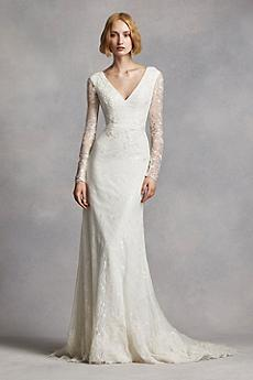 long sleeved wedding dresses long sheath modern chic wedding dress - white by vera wang LHREDAL