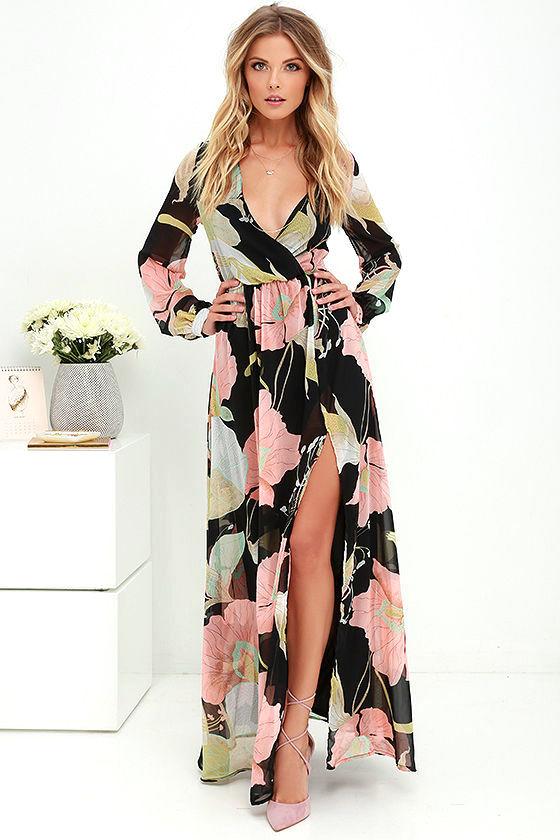 lovely black floral print dress - maxi dress - long sleeve dress - $78.00 OPLMDPW