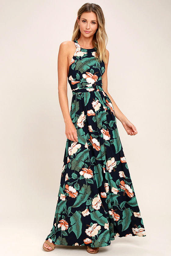 lovely navy blue dress - floral print dress - maxi dress - $64.00 ZXDZHSR