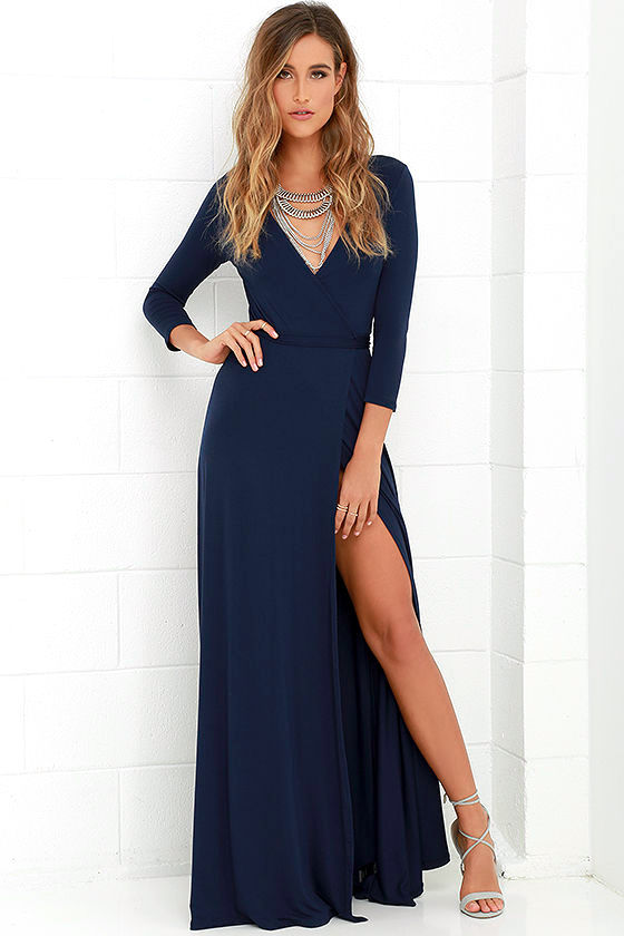 lovely navy blue maxi dress - wrap dress - wrap maxi dress - $68.00 YKCWRPV