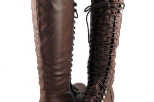 lt brown cool comfy urban lace up flat knee high boots combat biker inspired LRAQXBU