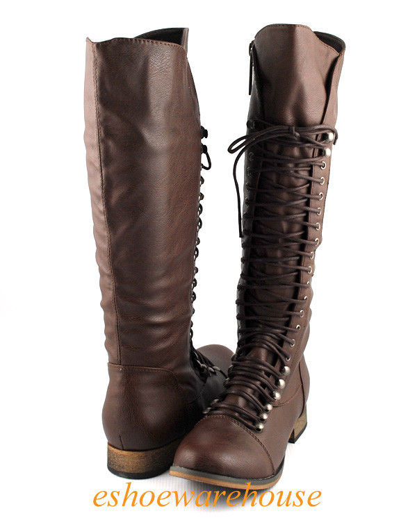 lt brown cool comfy urban lace up flat knee high boots combat biker inspired LRAQXBU