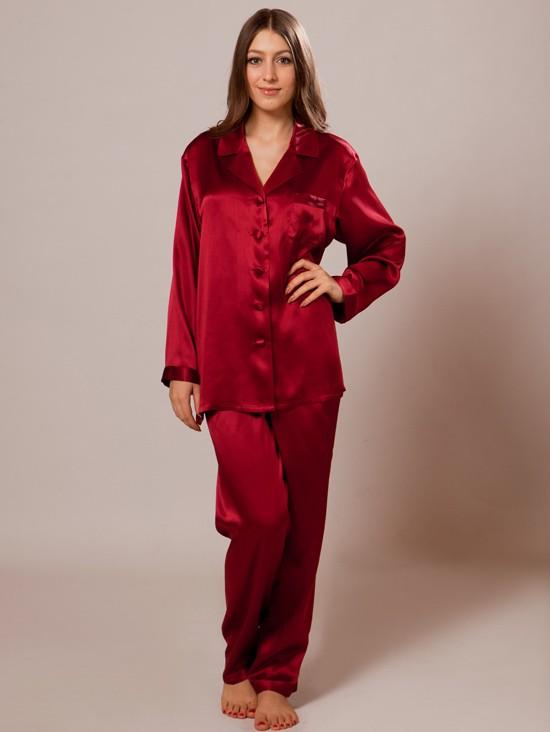 luxury long silk pajamas for women sw38wine FWUHHFF