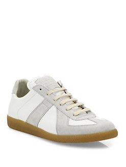 margiela sneakers maison margiela - replica leather u0026 suede low-top sneakers AGPIGKR