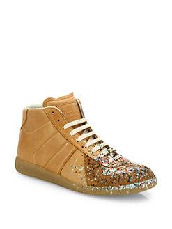 margiela sneakers maison margiela - replica paint-splatter leather mid-top sneakers WHXCJVS