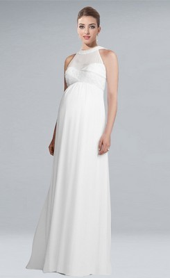 maternity wedding dresses modest halter empire floor-length chiffon maternity wedding dress QLINVTX
