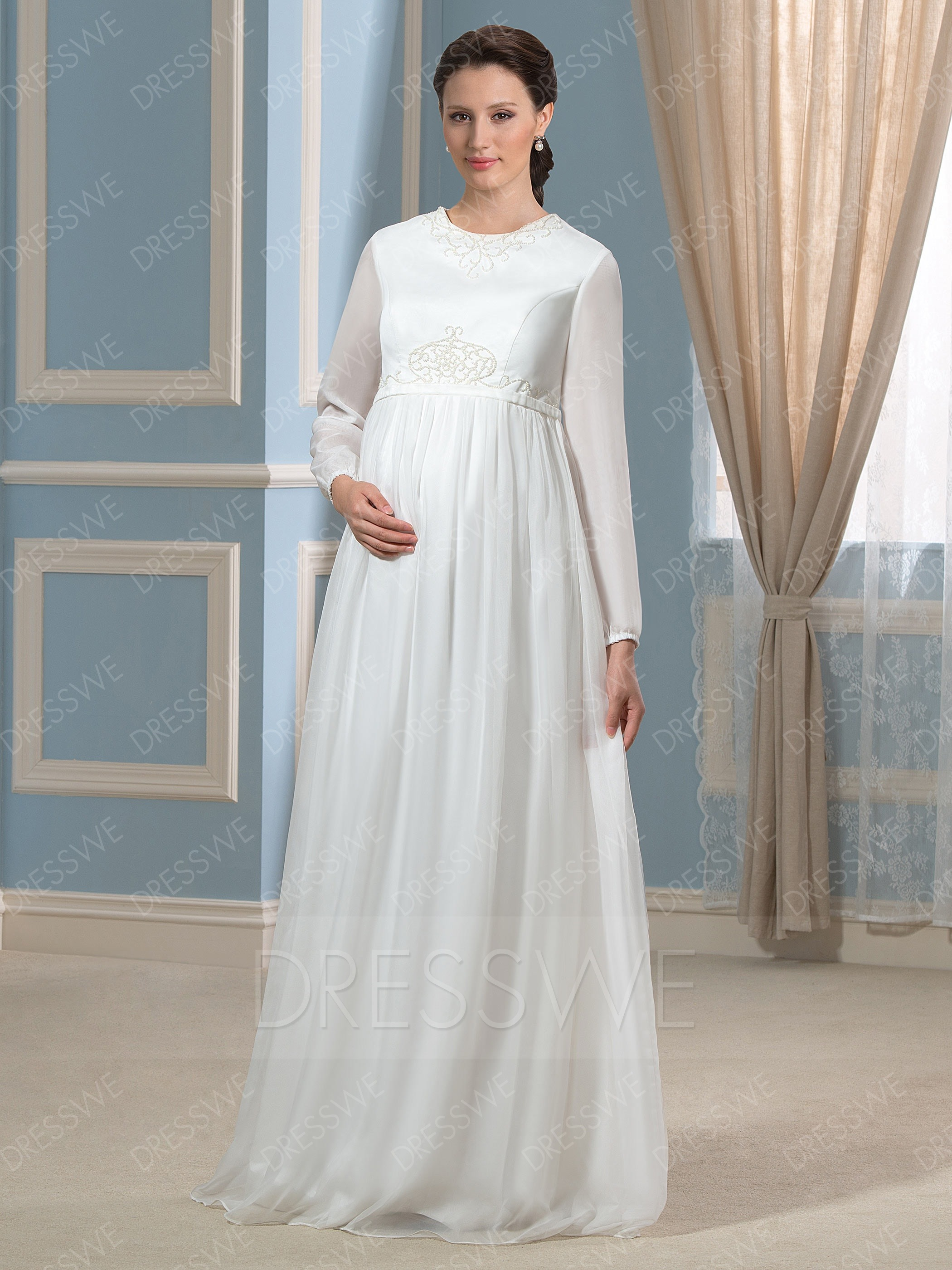 maternity wedding dresses picture: dresswe.com supplies modern scoop neck long sleeves zipper-up maternity  wedding dress maternity ... EMQOJOF